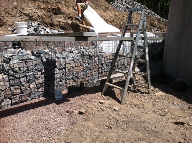how to build a gabion wall, gabion wall project, gabion retaining wall, gabion fence, gambion, gabion, gabion basket, gabion cage retaining wall, building gabion walls