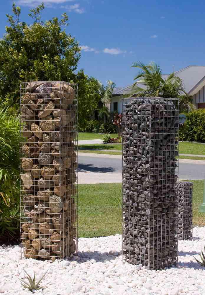 Outdoor Stone Pillars : Gabion garden feature stone pillars diy